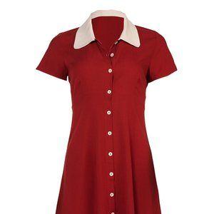 Maroon Shirt Dress with light tan collar